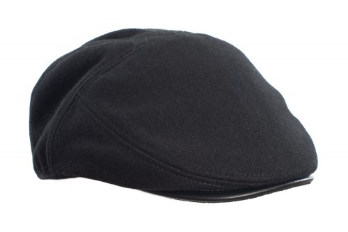 Black Leather Flat Cap