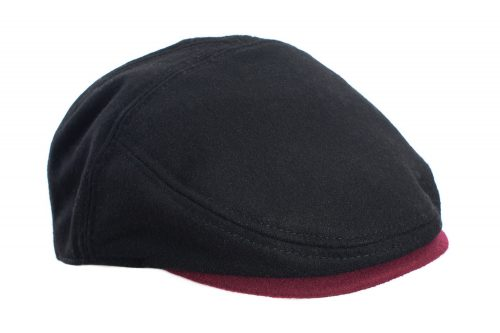 Black and Oxford Red Flat Cap